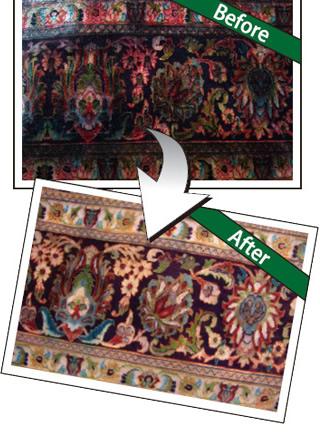 絨毯のクリーニング前後の比較写真